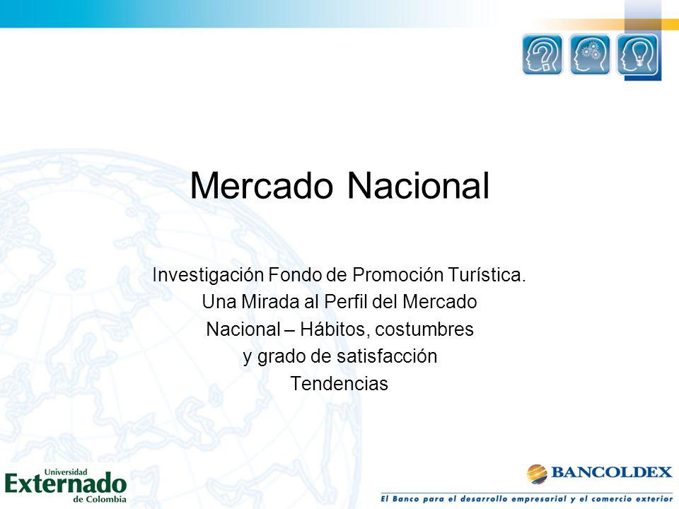 Mercado Nacional Investigación Fondo de Promoción Turística. Una Mirada al Perfil del Mercado Nacional – Hábitos, costumbres y grado de satisfacción T