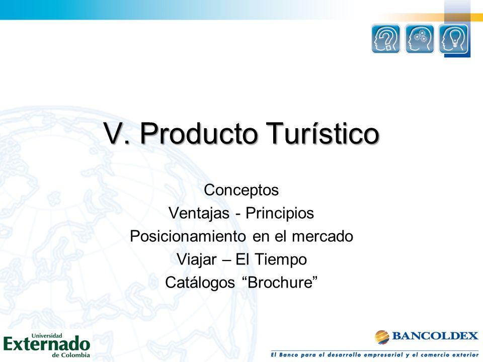V. Producto Turístico Conceptos Ventajas - Principios Posicionamiento en el mercado Viajar – El Tiempo Catálogos Brochure