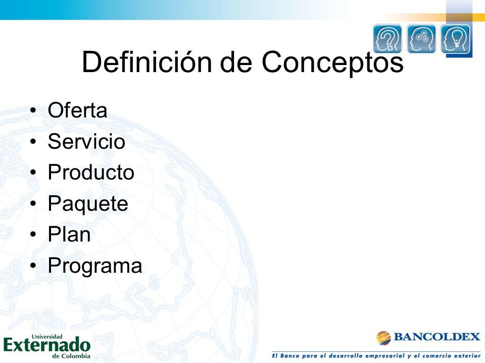 Definición de Conceptos Oferta Servicio Producto Paquete Plan Programa