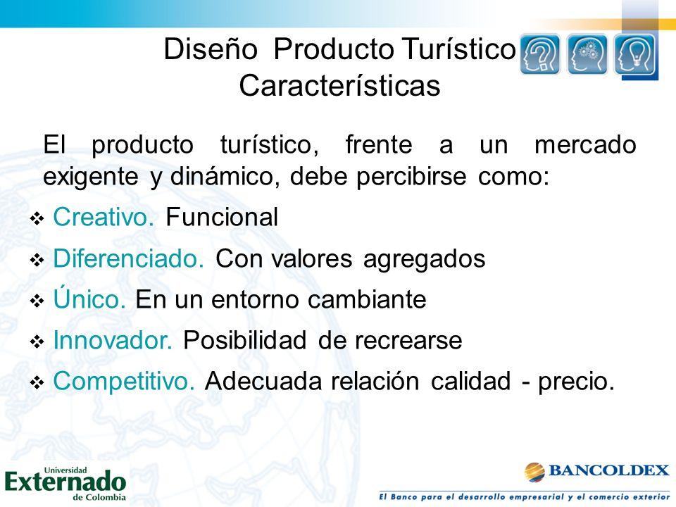 Diseño Producto Turístico Características El producto turístico, frente a un mercado exigente y dinámico, debe percibirse como: Creativo. Funcional Di