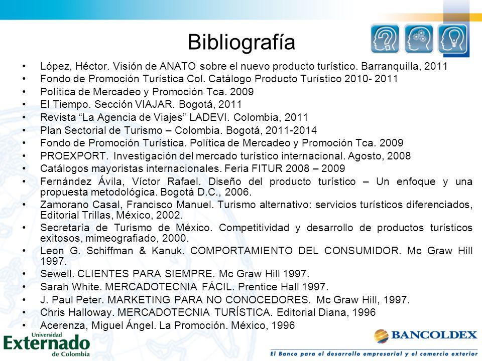 Bibliografía López, Héctor. Visión de ANATO sobre el nuevo producto turístico. Barranquilla, 2011 Fondo de Promoción Turística Col. Catálogo Producto