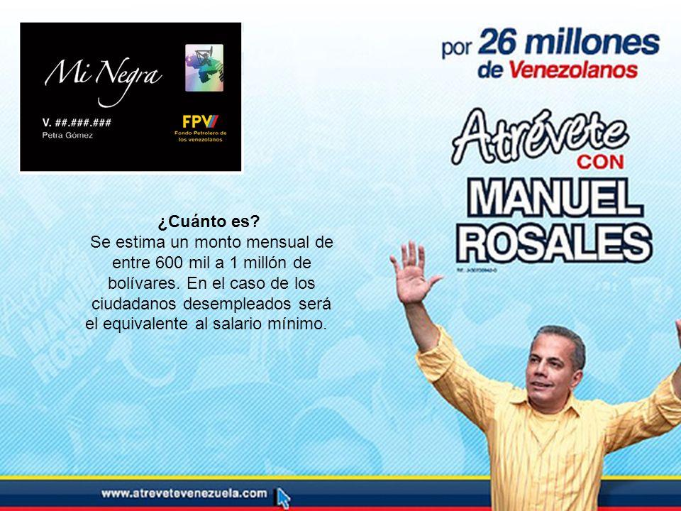 ¿Cuánto es? Se estima un monto mensual de entre 600 mil a 1 millón de bolívares. En el caso de los ciudadanos desempleados será el equivalente al sala