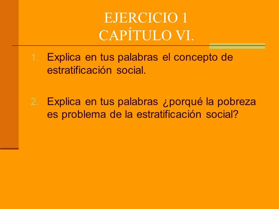 EJERCICIO 1 CAPÍTULO VI.1. Explica en tus palabras el concepto de estratificación social.