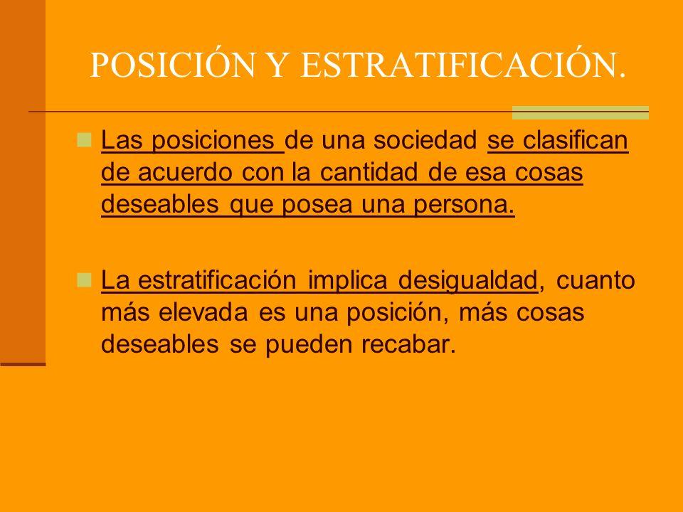POSICIÓN Y ESTRATIFICACIÓN.