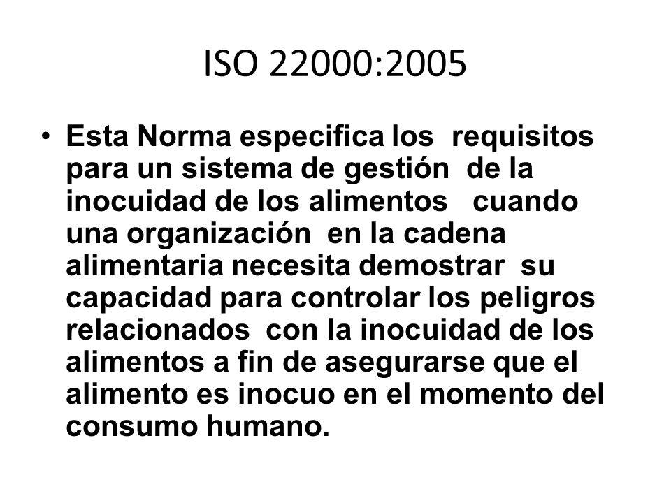 ISO 22000:2005 Esta Norma especifica los requisitos para un sistema de gestión de la inocuidad de los alimentos cuando una organización en la cadena a