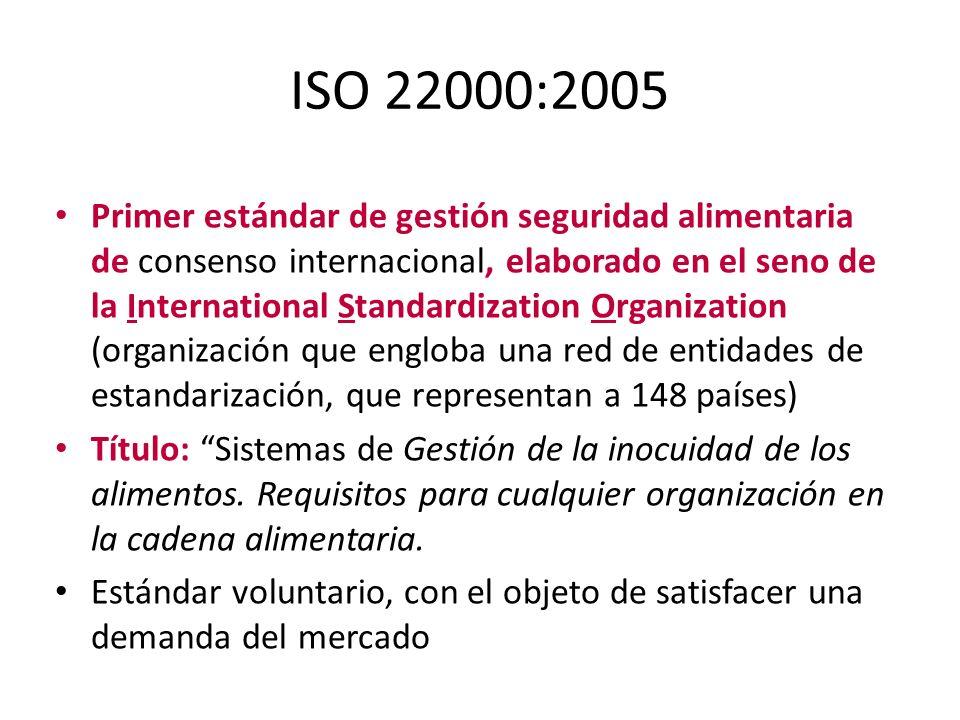 ISO 22000:2005 Primer estándar de gestión seguridad alimentaria de consenso internacional, elaborado en el seno de la International Standardization Or