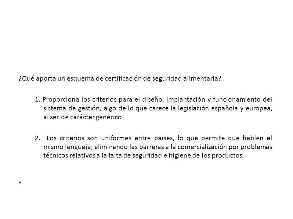 ¿Qué aporta un esquema de certificación de seguridad alimentaria? 1. Proporciona los criterios para el diseño, implantación y funcionamiento del siste