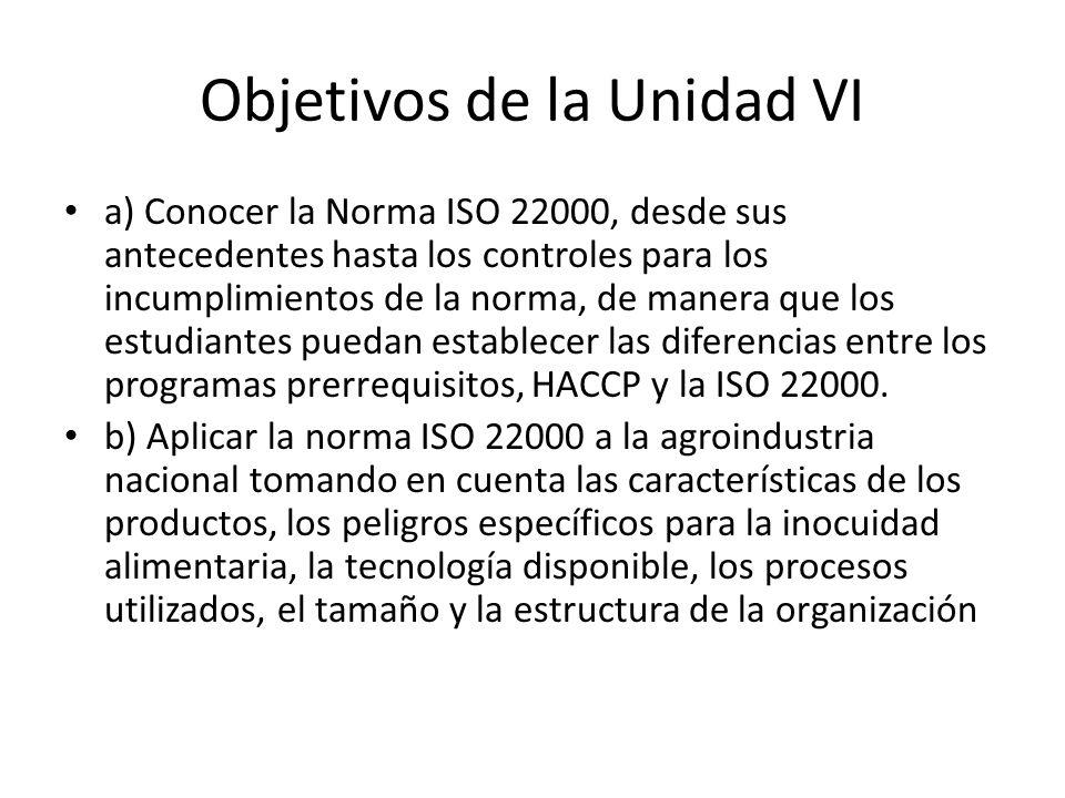 Objetivos de la Unidad VI a) Conocer la Norma ISO 22000, desde sus antecedentes hasta los controles para los incumplimientos de la norma, de manera qu