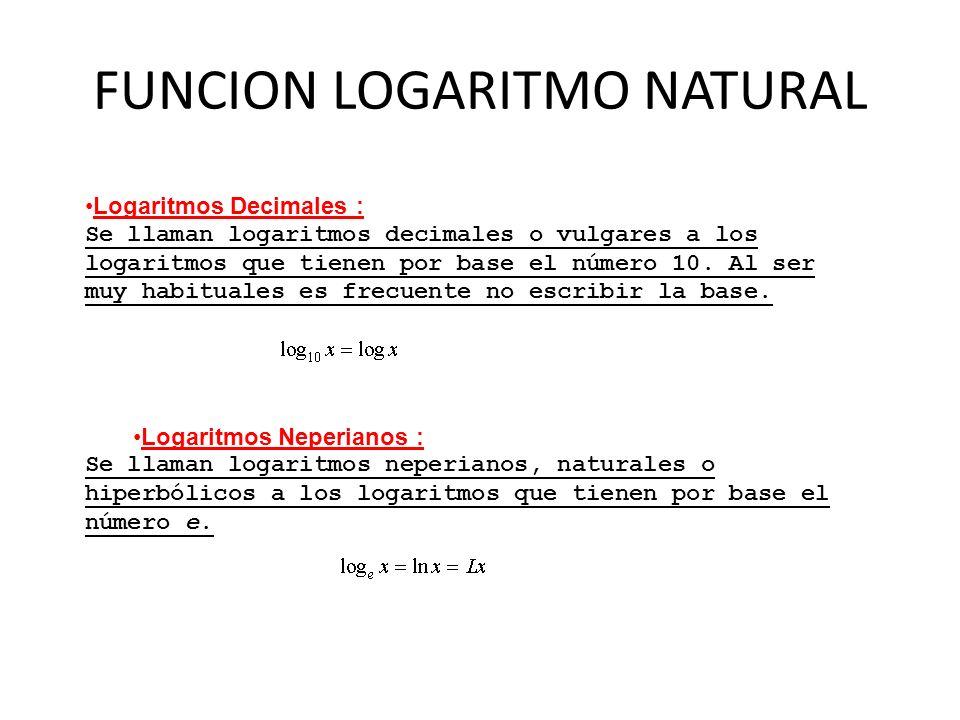 FUNCION LOGARITMO NATURAL Logaritmos Decimales : Se llaman logaritmos decimales o vulgares a los logaritmos que tienen por base el número 10. Al ser m