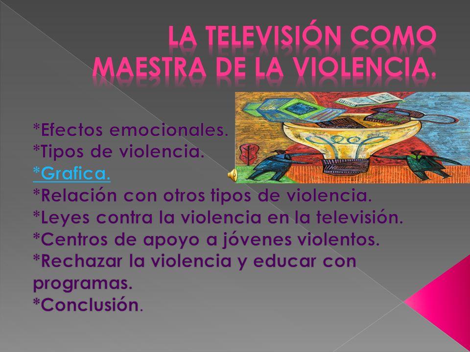 La violencia en la televicion es la forma mas facil en la que las televisoras hacen fortuna,a costa del bienestar de los niños,jovenes y adultos.
