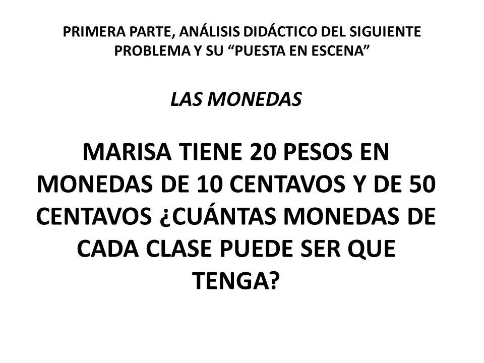 MARISA TIENE 20 PESOS EN MONEDAS DE 10 CENTAVOS Y DE 50 CENTAVOS ¿CUÁNTAS MONEDAS DE CADA CLASE PUEDE SER QUE TENGA? LAS MONEDAS PRIMERA PARTE, ANÁLIS