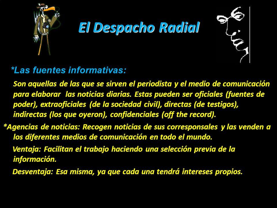 El Despacho Radial Tipos de despacho radial: 1.- Despacho con fuente: La noticia transmitida desde el lugar de los hechos con una o varias fuentes oficiales o no oficiales.