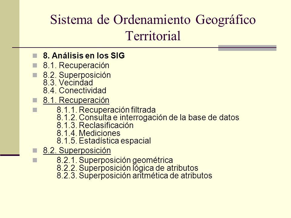 Sistema de Ordenamiento Geográfico Territorial 8. Análisis en los SIG 8.1. Recuperación 8.2. Superposición 8.3. Vecindad 8.4. Conectividad 8.1. Recupe