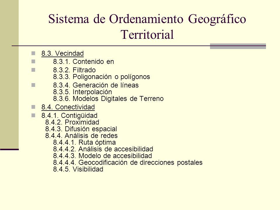 Sistema de Ordenamiento Geográfico Territorial 8.3. Vecindad 8.3.1. Contenido en 8.3.2. Filtrado 8.3.3. Poligonación o polígonos 8.3.4. Generación de