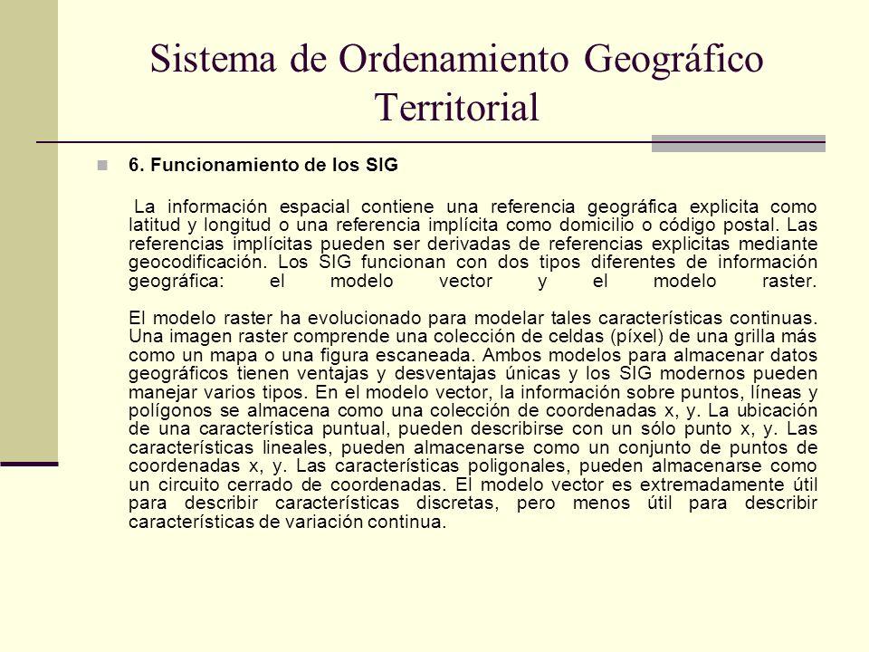 Sistema de Ordenamiento Geográfico Territorial 6. Funcionamiento de los SIG La información espacial contiene una referencia geográfica explicita como