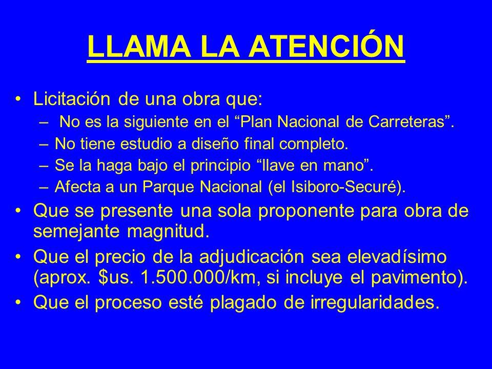 COMPARACION DE COSTOS Carreteras construidas o en construcción en Bolivia (miles de $us/km) (pavimento) Pte.