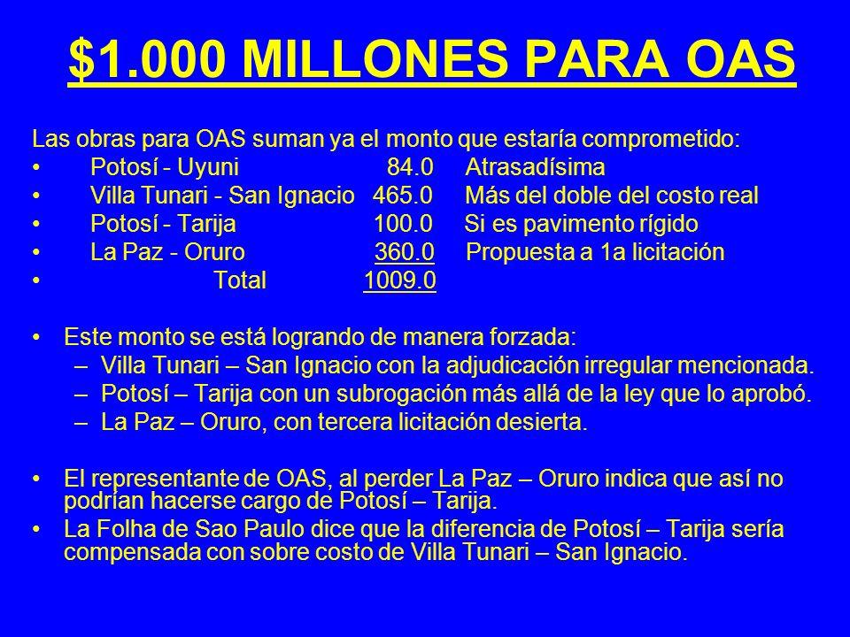 $1.000 MILLONES PARA OAS Las obras para OAS suman ya el monto que estaría comprometido: Potosí - Uyuni 84.0 Atrasadísima Villa Tunari - San Ignacio 46