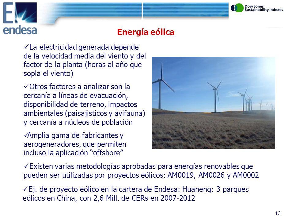 12 Energía hidráulica 2 tipos de centrales hidroeléctricas: hidráulicas convencionales y minihidráulicas (España: <50 MW) Son centrales de generación limpia: ahorran CO 2 al no consumir combustibles fósiles y desplazar la energía producida a través de ellos Hay que descontar las emisiones de CH 4 que se producen en los embalses por digestión anaerobia de los lodos En la UE, las hidráulicas convencionales deben cumplir los requisitos marcados en la Word Commission on Dams (Comisión Mundial de Grandes Presas) => riesgo que la UE no permita el uso de los CERs generados en el EU ETS Las centrales minihidráulicas pueden ser de pequeño embalse o de pasada (no generan CH 4 ) Existen varias metodologías aprobadas para energías renovables que pueden ser utilizadas por proyectos hidráulicos: AM0019, AM0026 y ACM0002