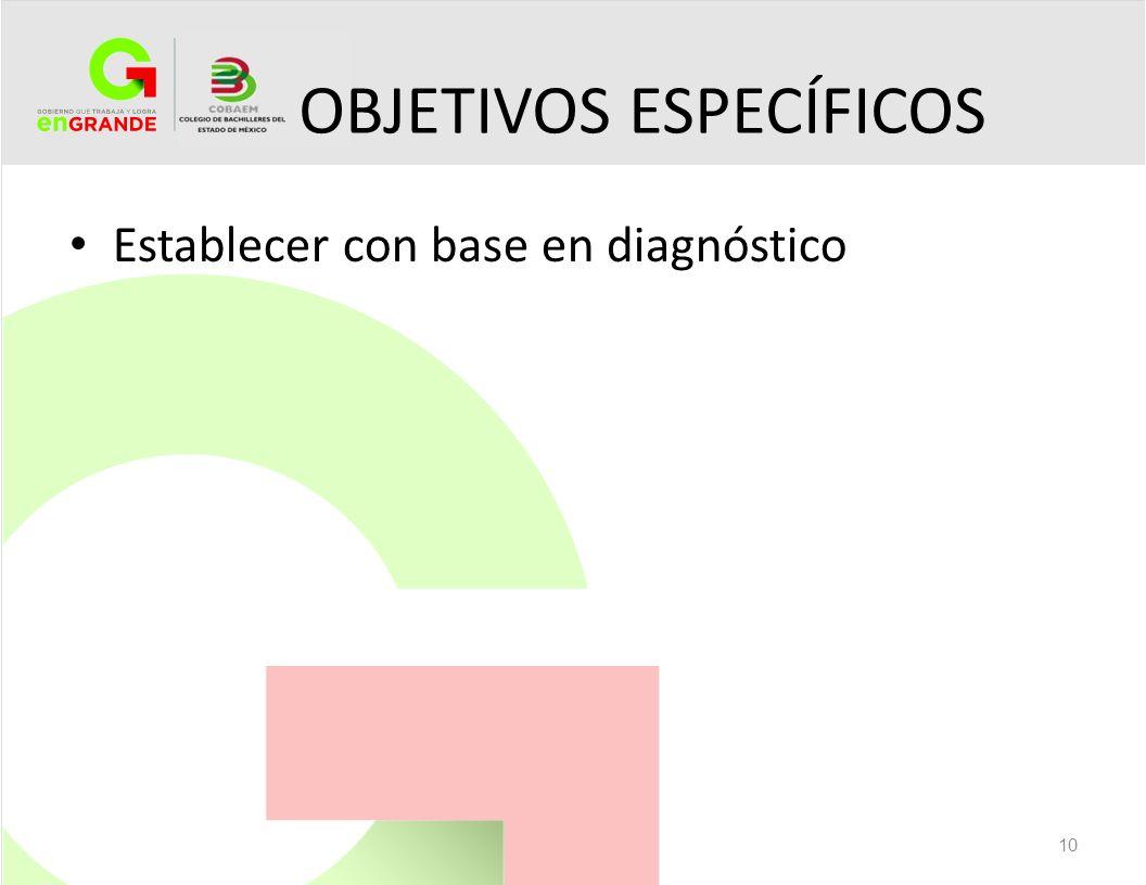 OBJETIVOS ESPECÍFICOS Establecer con base en diagnóstico 10