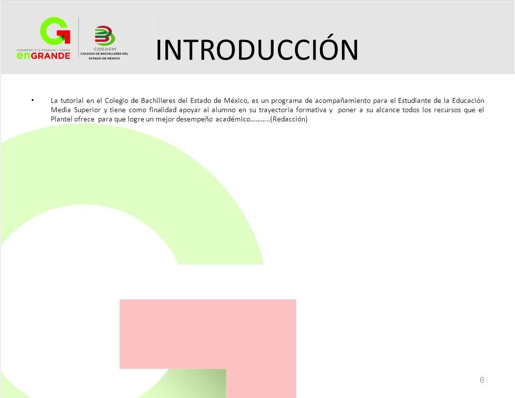 INTRODUCCIÓN La tutorial en el Colegio de Bachilleres del Estado de México, es un programa de acompañamiento para el Estudiante de la Educación Media