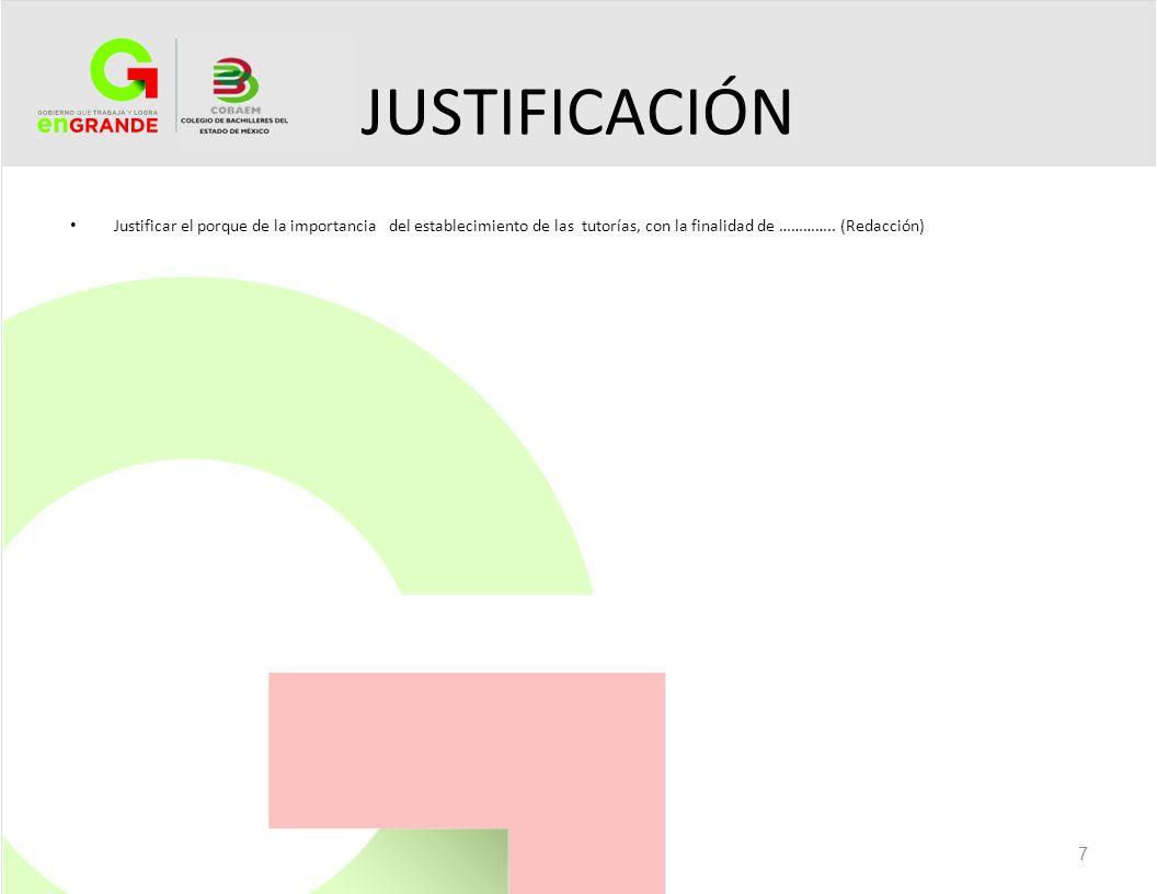 JUSTIFICACIÓN Justificar el porque de la importancia del establecimiento de las tutorías, con la finalidad de ………….. (Redacción) 7