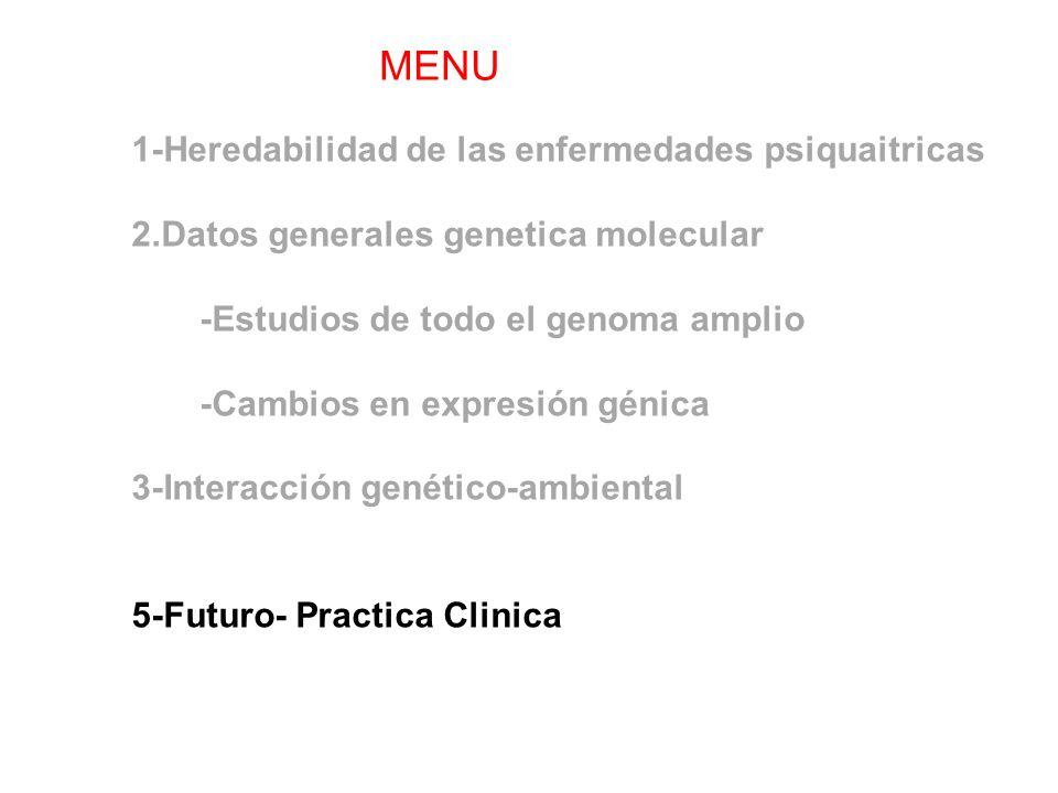 1-Heredabilidad de las enfermedades psiquaitricas 2.Datos generales genetica molecular -Estudios de todo el genoma amplio -Cambios en expresión génica