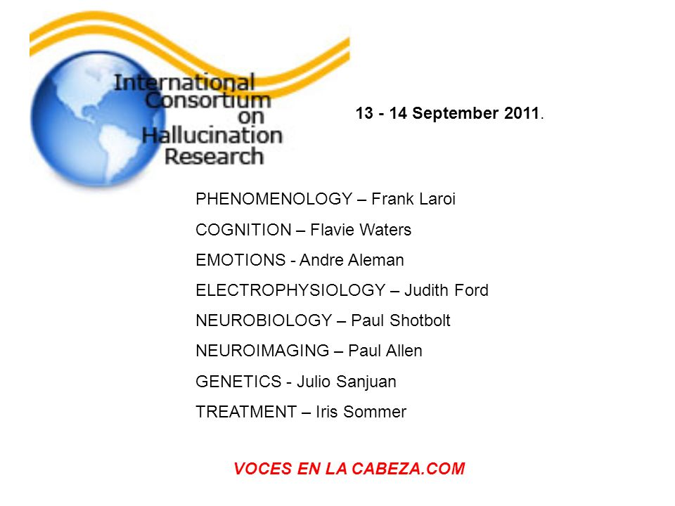 PHENOMENOLOGY – Frank Laroi COGNITION – Flavie Waters EMOTIONS - Andre Aleman ELECTROPHYSIOLOGY – Judith Ford NEUROBIOLOGY – Paul Shotbolt NEUROIMAGIN