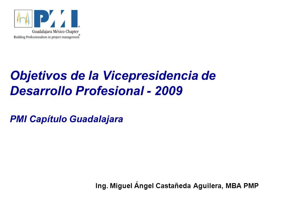 Objetivos de la Vicepresidencia de Desarrollo Profesional - 2009 PMI Capítulo Guadalajara Ing.