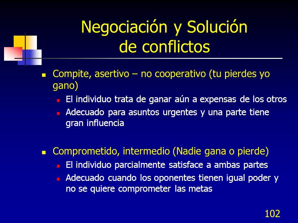 102 Negociación y Solución de conflictos Compite, asertivo – no cooperativo (tu pierdes yo gano) El individuo trata de ganar aún a expensas de los otr