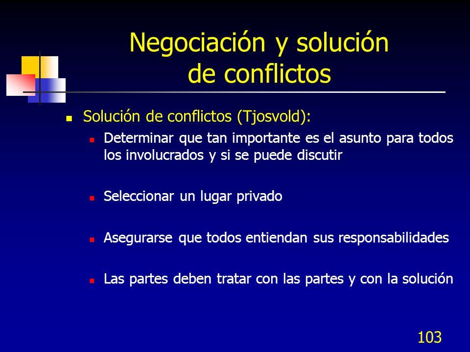 103 Negociación y solución de conflictos Solución de conflictos (Tjosvold): Determinar que tan importante es el asunto para todos los involucrados y s