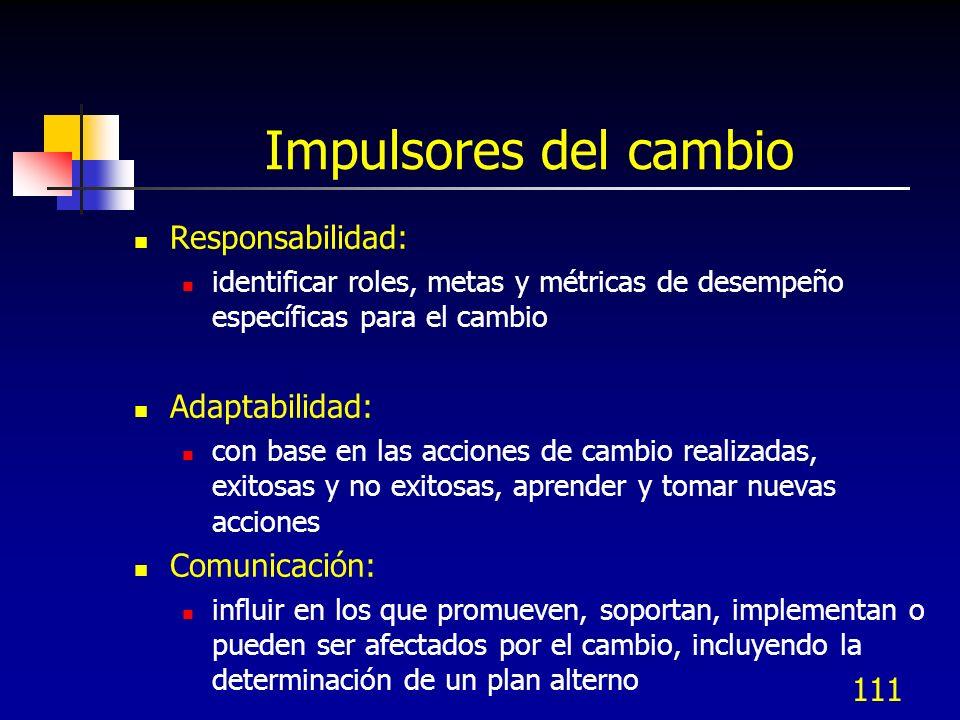 111 Impulsores del cambio Responsabilidad: identificar roles, metas y métricas de desempeño específicas para el cambio Adaptabilidad: con base en las