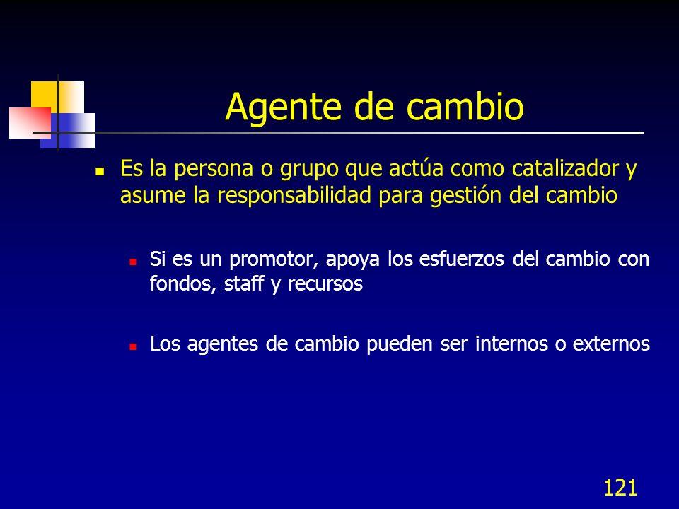 121 Agente de cambio Es la persona o grupo que actúa como catalizador y asume la responsabilidad para gestión del cambio Si es un promotor, apoya los