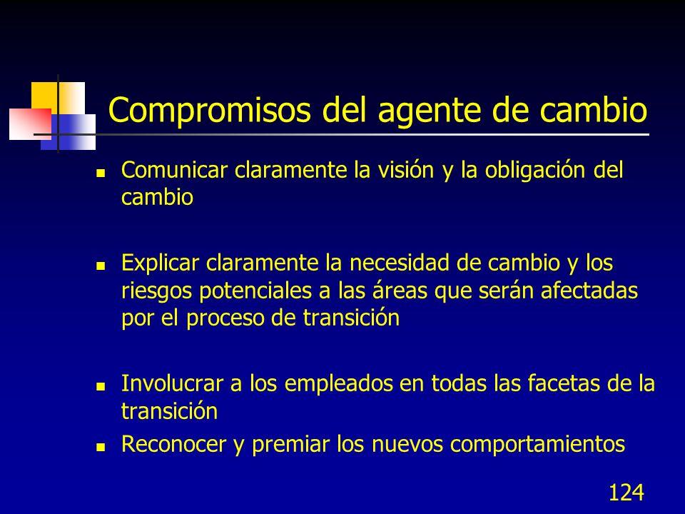 124 Compromisos del agente de cambio Comunicar claramente la visión y la obligación del cambio Explicar claramente la necesidad de cambio y los riesgo