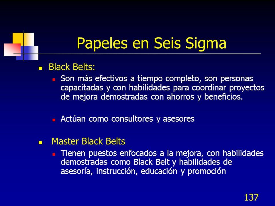 137 Papeles en Seis Sigma Black Belts: Son más efectivos a tiempo completo, son personas capacitadas y con habilidades para coordinar proyectos de mej