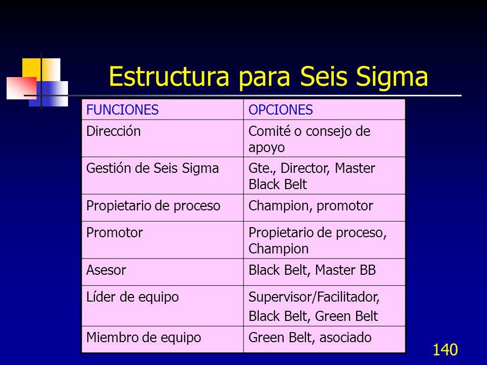 140 Estructura para Seis Sigma FUNCIONESOPCIONES DirecciónComité o consejo de apoyo Gestión de Seis SigmaGte., Director, Master Black Belt Propietario