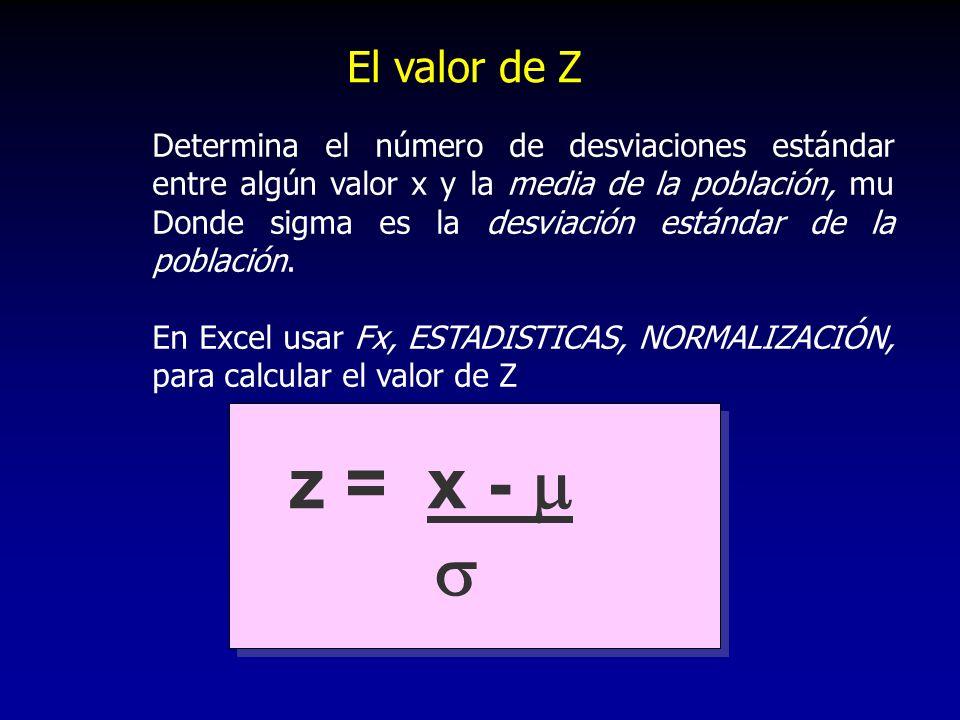 El valor de Z Determina el número de desviaciones estándar entre algún valor x y la media de la población, mu Donde sigma es la desviación estándar de