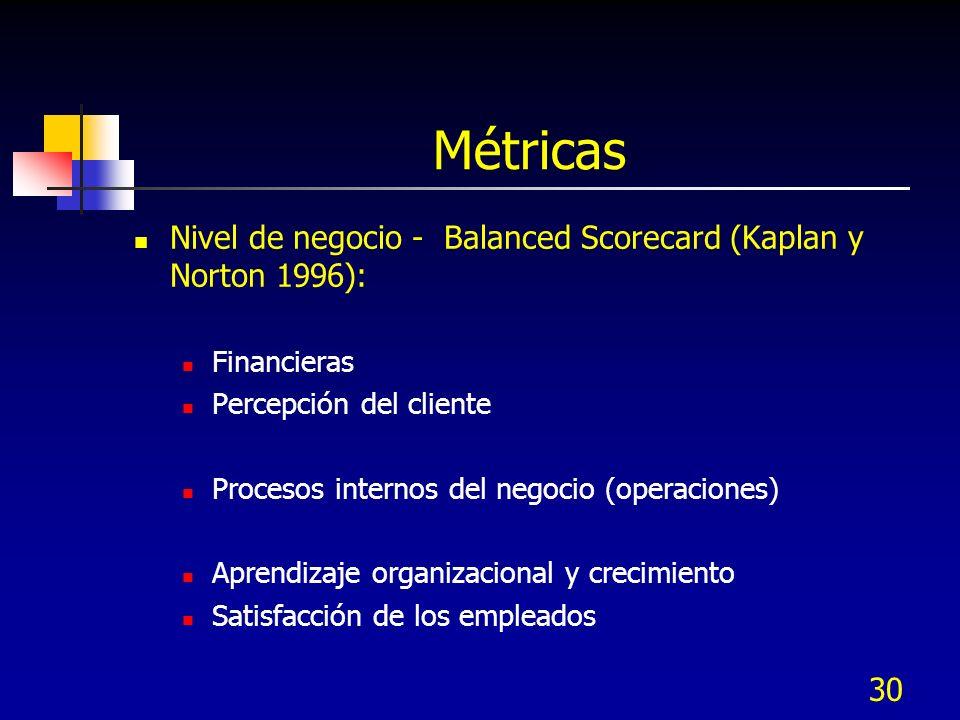 30 Métricas Nivel de negocio - Balanced Scorecard (Kaplan y Norton 1996): Financieras Percepción del cliente Procesos internos del negocio (operacione