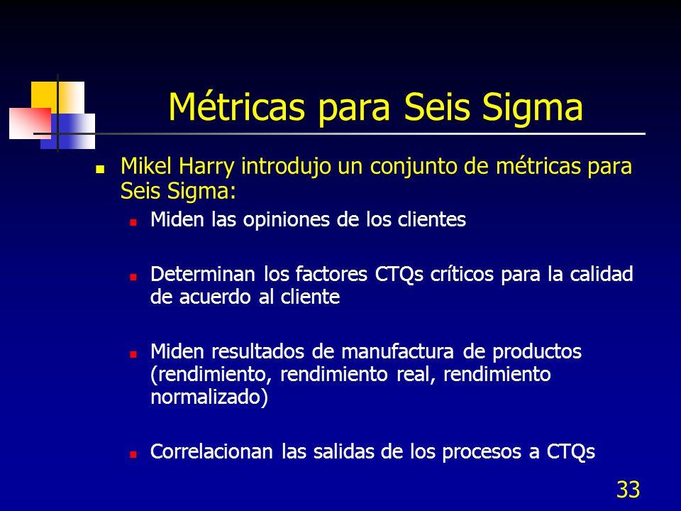 33 Métricas para Seis Sigma Mikel Harry introdujo un conjunto de métricas para Seis Sigma: Miden las opiniones de los clientes Determinan los factores
