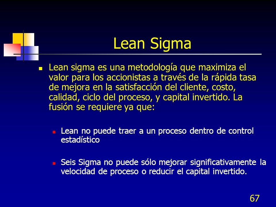67 Lean Sigma Lean sigma es una metodología que maximiza el valor para los accionistas a través de la rápida tasa de mejora en la satisfacción del cli