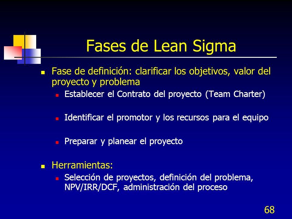 68 Fases de Lean Sigma Fase de definición: clarificar los objetivos, valor del proyecto y problema Establecer el Contrato del proyecto (Team Charter)