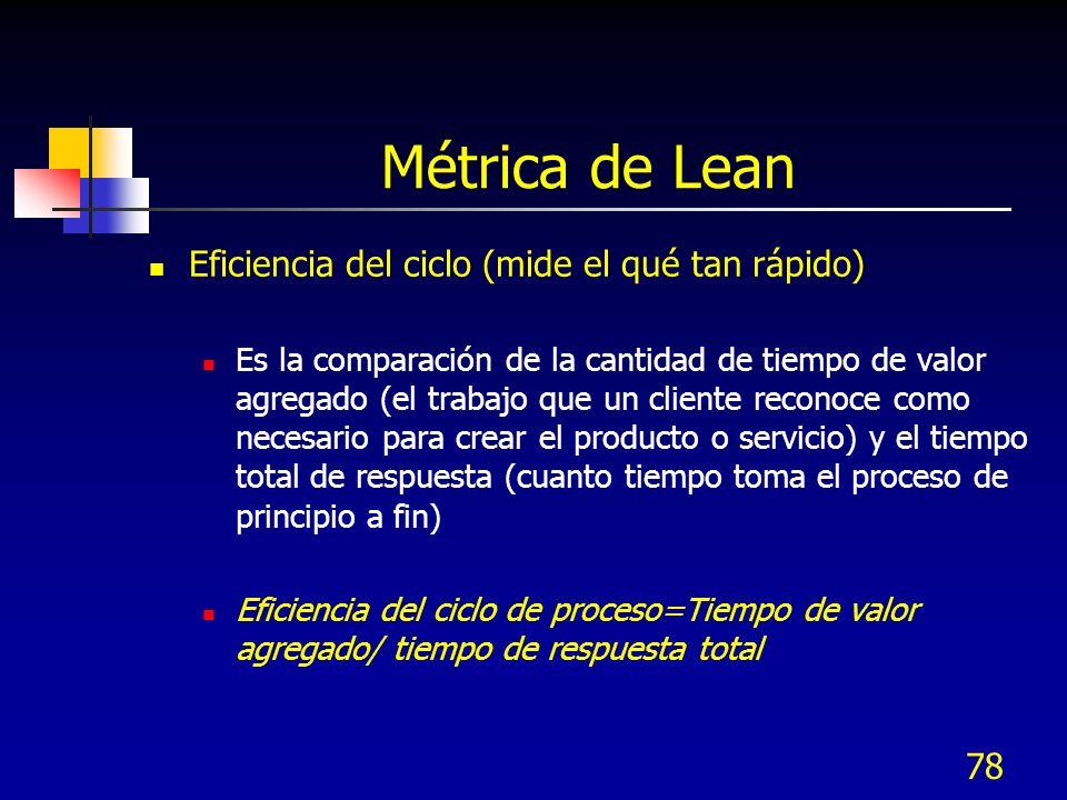 78 Métrica de Lean Eficiencia del ciclo (mide el qué tan rápido) Es la comparación de la cantidad de tiempo de valor agregado (el trabajo que un clien