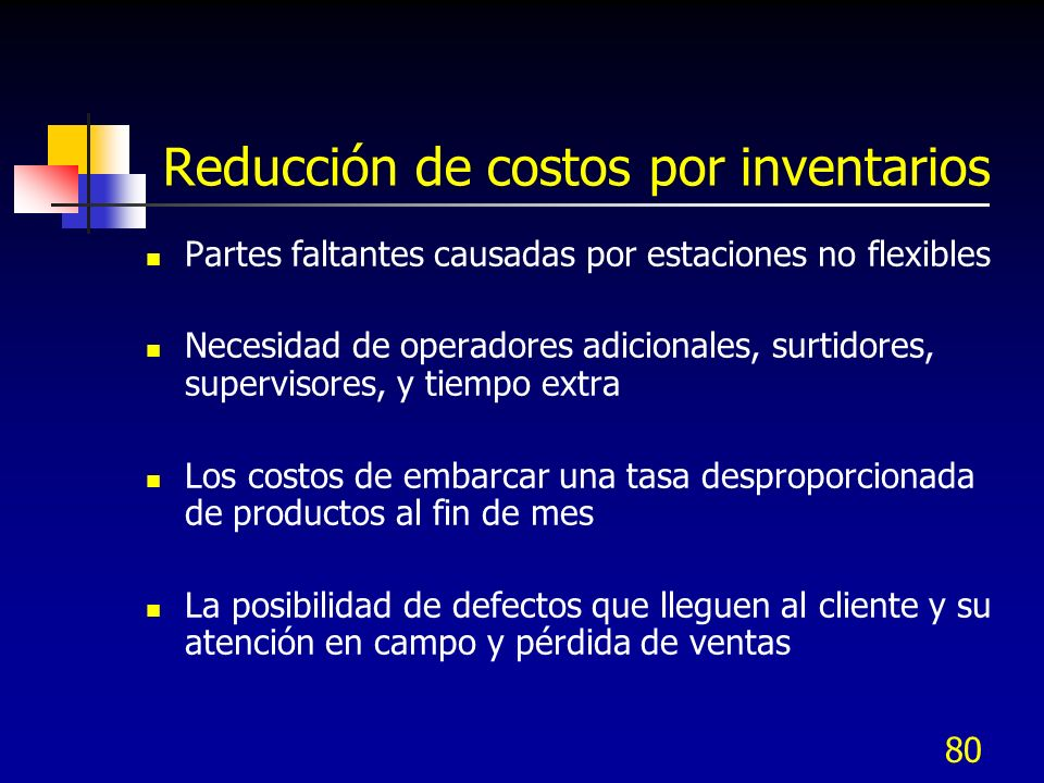 80 Reducción de costos por inventarios Partes faltantes causadas por estaciones no flexibles Necesidad de operadores adicionales, surtidores, supervis