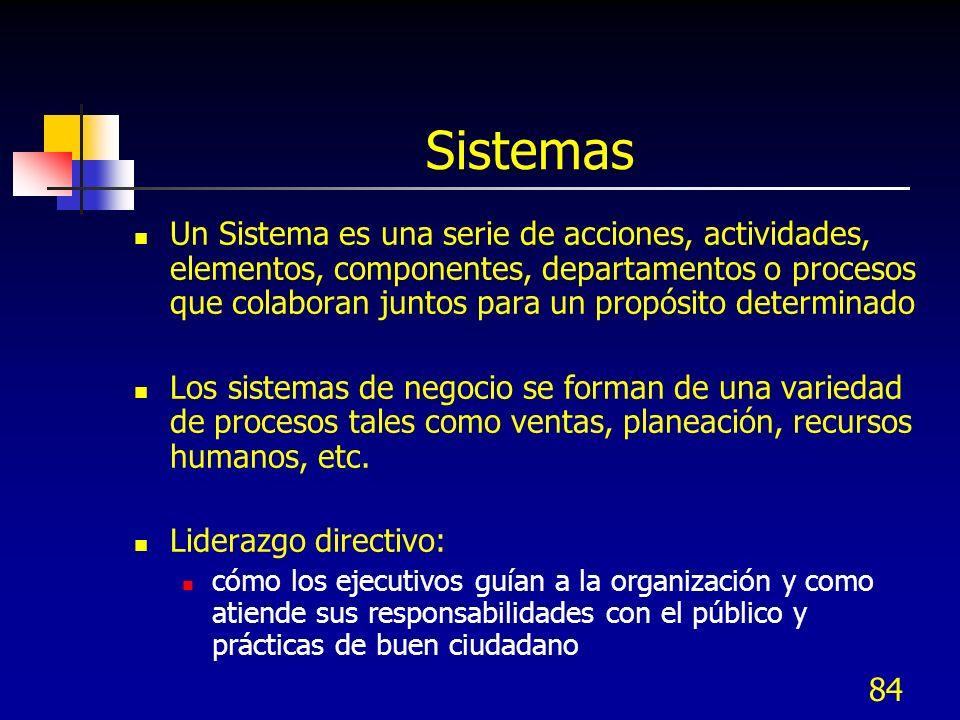 84 Sistemas Un Sistema es una serie de acciones, actividades, elementos, componentes, departamentos o procesos que colaboran juntos para un propósito