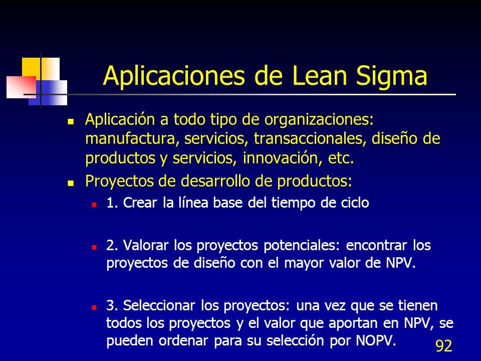 92 Aplicaciones de Lean Sigma Aplicación a todo tipo de organizaciones: manufactura, servicios, transaccionales, diseño de productos y servicios, inno