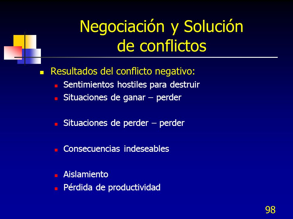 98 Negociación y Solución de conflictos Resultados del conflicto negativo: Sentimientos hostiles para destruir Situaciones de ganar – perder Situacion