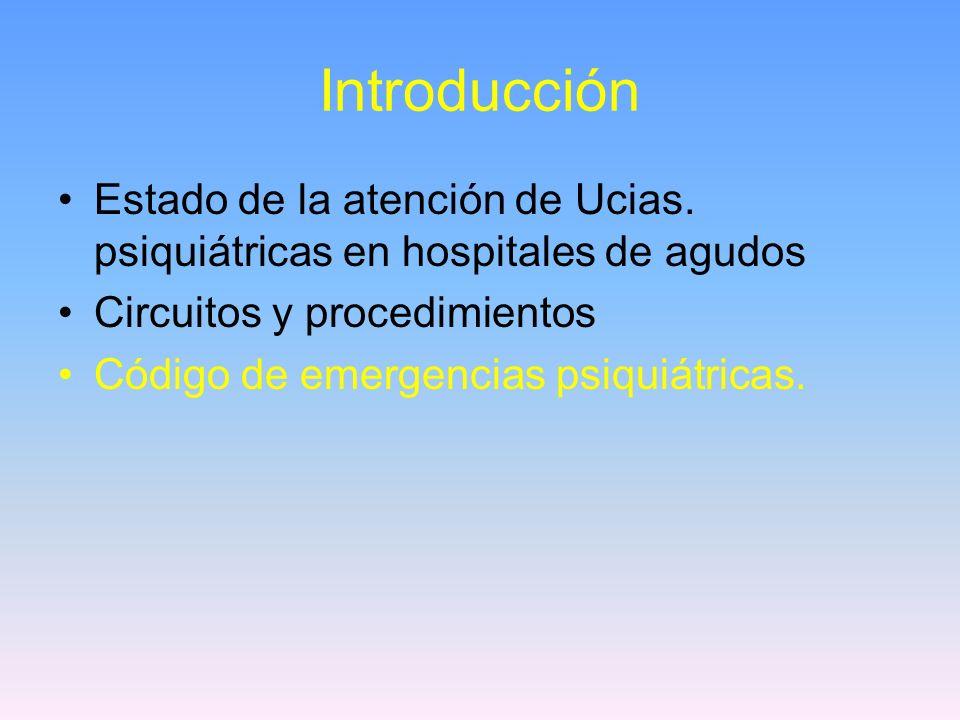 Introducción Estado de la atención de Ucias. psiquiátricas en hospitales de agudos Circuitos y procedimientos Código de emergencias psiquiátricas.