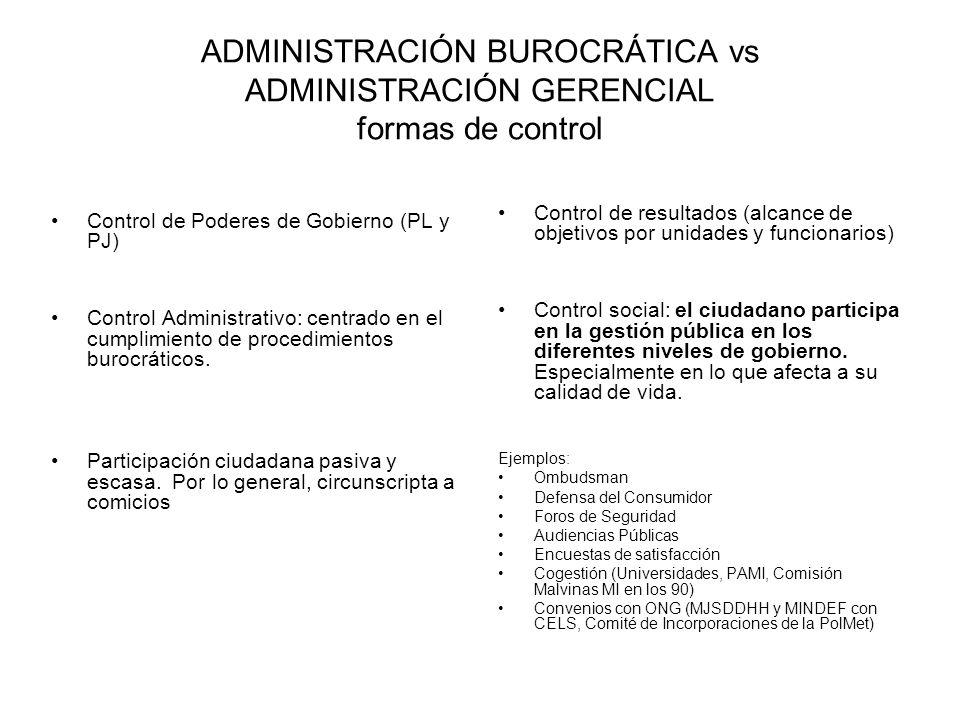 ADMINISTRACIÓN BUROCRÁTICA vs ADMINISTRACIÓN GERENCIAL formas de control Control de Poderes de Gobierno (PL y PJ) Control Administrativo: centrado en