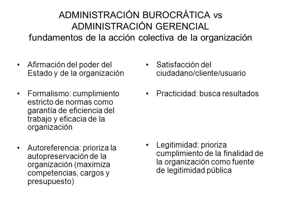 ADMINISTRACIÓN BUROCRÁTICA vs ADMINISTRACIÓN GERENCIAL fundamentos de la acción colectiva de la organización Afirmación del poder del Estado y de la organización Formalismo: cumplimiento estricto de normas como garantía de eficiencia del trabajo y eficacia de la organización Autoreferencia: prioriza la autopreservación de la organización (maximiza competencias, cargos y presupuesto) Satisfacción del ciudadano/cliente/usuario Practicidad: busca resultados Legitimidad: prioriza cumplimiento de la finalidad de la organización como fuente de legitimidad pública