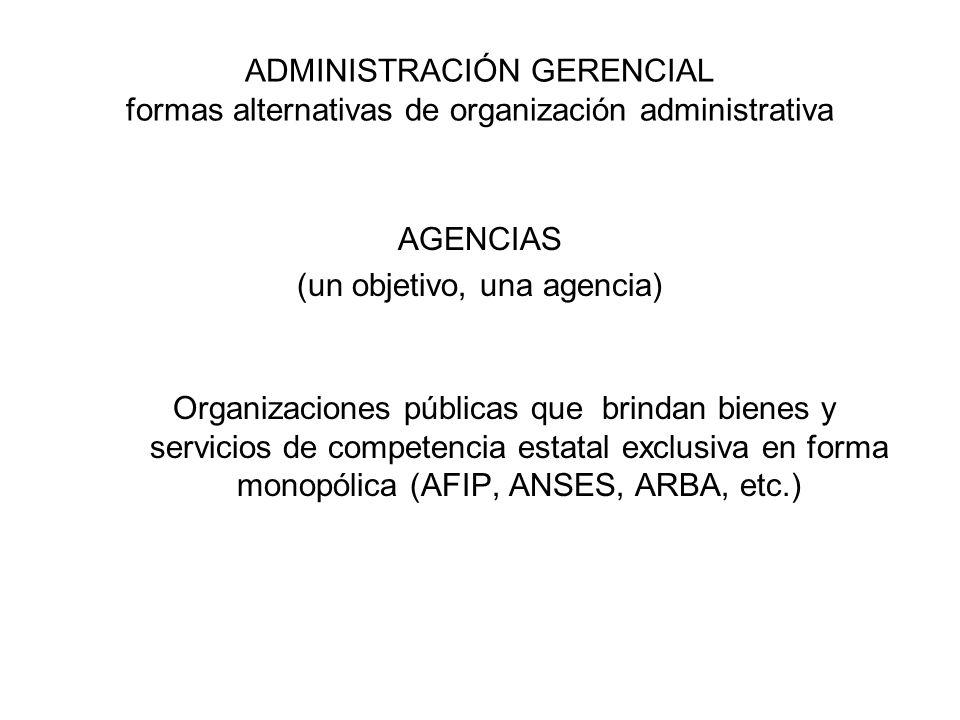 ADMINISTRACIÓN GERENCIAL formas alternativas de organización administrativa AGENCIAS (un objetivo, una agencia) Organizaciones públicas que brindan bienes y servicios de competencia estatal exclusiva en forma monopólica (AFIP, ANSES, ARBA, etc.)