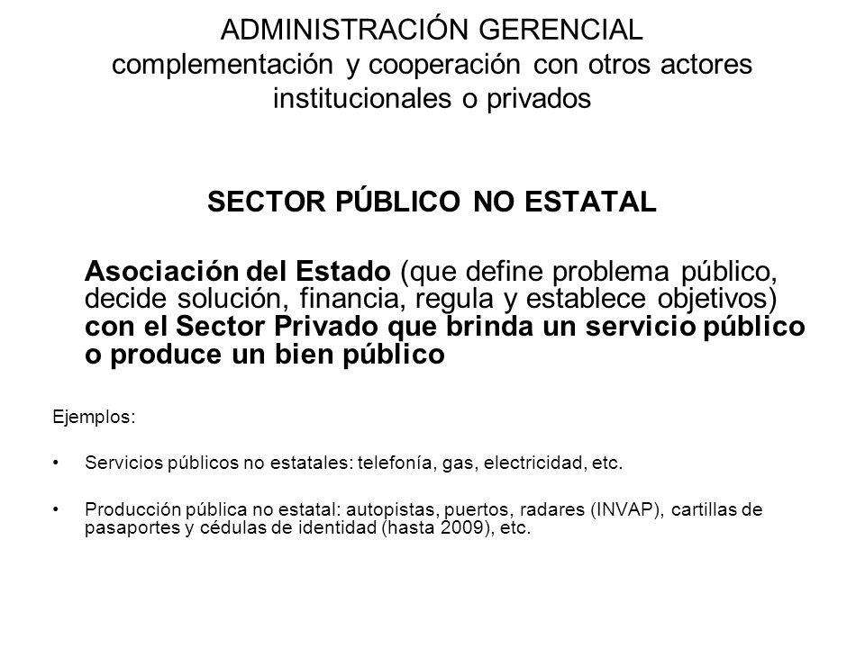 ADMINISTRACIÓN GERENCIAL complementación y cooperación con otros actores institucionales o privados SECTOR PÚBLICO NO ESTATAL Asociación del Estado (q